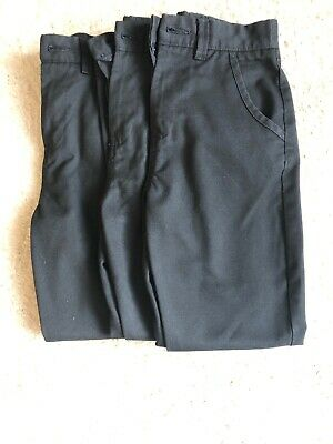 3 Pairs Of Next boys Black Chino School Trousers Age 10 Adjustable Waist.