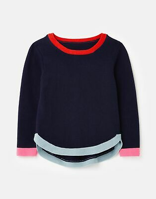 Joules Girls Isabella Curved Hem Knit 3 12 Years in NAVY