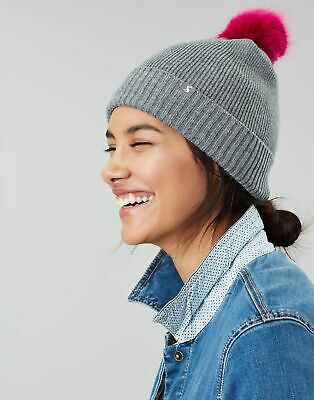 Joules Womens Snowday Lightweight Knitted Hat in CHARCOAL in One Size