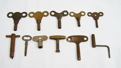 11 antique brass steel clock keys clock key