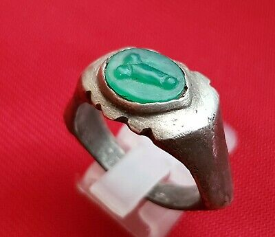 PHALLUS - CAMEO - GEM Ancient Roman SILVER massive ring with natural stone