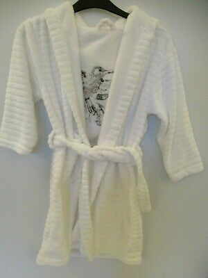 BNWOT New Next Girls Soft Fluffy White Dressing Gown Bird Embroidery Age 3-4 Yrs