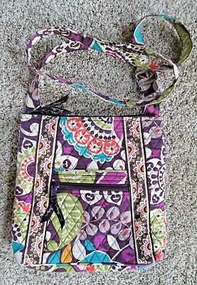 VERA BRADLEY HIPSTER CROSSBODY PURSE, Plum Crazy Cotton Quilted Floral, EUC