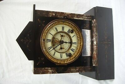 Antique Ansonia Slate & Marble Striking Mantle Clock.