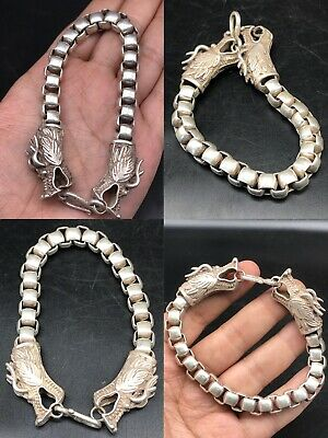 BEAUTIFUL ANCIENT VIKING STYLE SILVER BRACELET WITH DRAGON HEADS 76gr