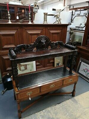 Magnificent Antique Victorian Ebonised Oak Carved Window Seat Duet Stool Bench