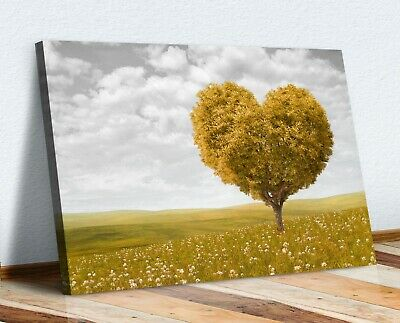 Yellow Heart Shaped Tree Leaves Black White Canvas Wall Art Picture Print