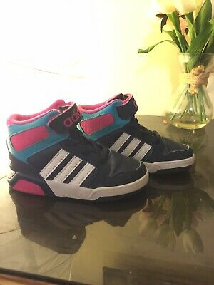 Adidas Girls Boys Infant Size 7 BB9TIS Mid Trainers Shoes Navy Pink Hardly Worn