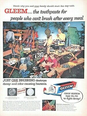 1957 Gleem Toothpaste Vintage Print Ad Family Camping Picnic
