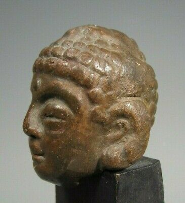 North India Nepal ? Pottery Head of Buddha Fragment From Statue ca. 17-19th c