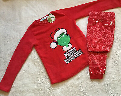 BNWT Primark Christmas Boys Dr Seuss The Grinch Fleece Pyjamas Age 12-13 Years