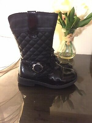 Girls Black patent & quilted biker Boots  ~ By George - Infant size 9