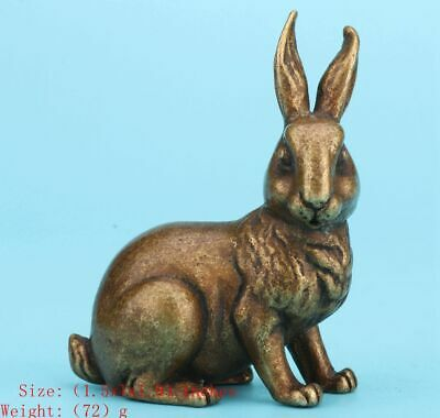 Sacred Chinese Bronze Statue Solid Rabbit Mascot Home Decoration Collection Old