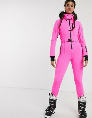 ASOS Acid Pink Fitted Belted Ski Suit with Faux Fur Hood  Sizes UK 10_12
