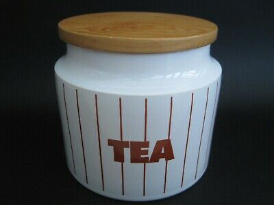 Vintage Retro Hornsea Pottery Red Stripe Tea Storage Jar Container Canister