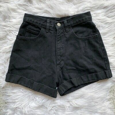Vtg Vintage Just Usa - 24 - Black High-Rise Cuffed Denim Jean Shorts Womens