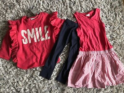 Next Smile Dress Sweathirt And Leggings Set Age 3 Bnwt