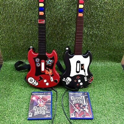 Guitar Hero Bundle Sony PlayStation 2 PS2 Red Octane Guitars x 2 & 2 Games