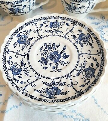 """Johnson Brothers Indies Blue & White Breakfast Saucers 6 1/4"""""""