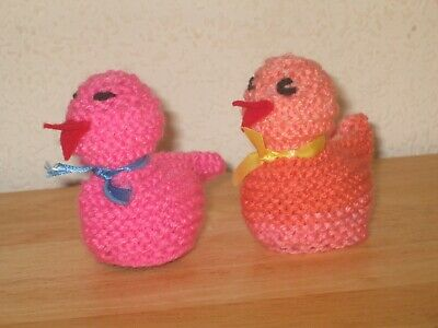 Two Hand Knitted Chick Cream Egg Cosies, So Cute