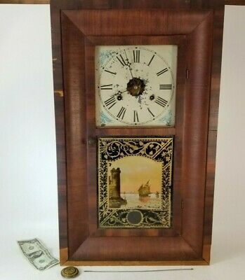 New Haven Clock Weight Driven Ogee Shelf 30 Hour Clock Antique w Key Crank AS IS