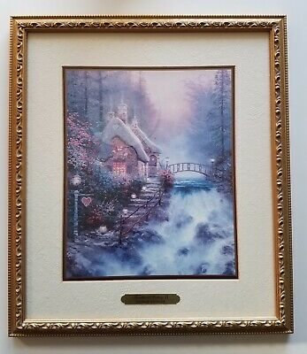 Thomas Kinkade Sweetheart Cottage II Accent Print ~ Matted Gold Framed 14x12 COA