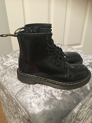 Genuine Dr Martens Girls Black Patent Boots Size 11 Infant Kids Shoes