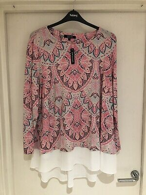 BRAND NEW WITH TAGS JD WILLIAMS Size 26 Pink Paisley Stretch Top Plus Size