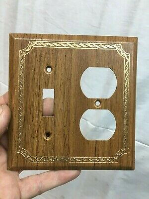 Metal Light switch and Plug Cover Plate wood grain Finish Mid Century
