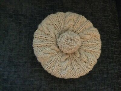Girl's cable pattern beret, hand knitted in a merino wool/alpaca blend, 3/4 yrs