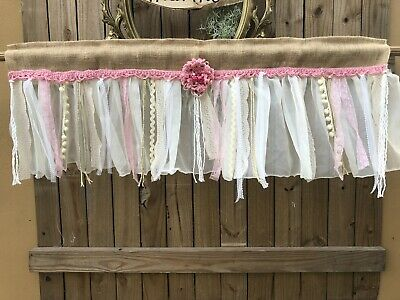 "40"" Pink  French vintage lace -Shabby Rustic Chic BURLAP RUFFLED Valance Curtain"