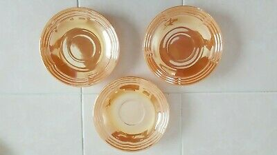 Anchor Hocking Fire King Peach Luster Laurel Pattern Set of 3 Saucers