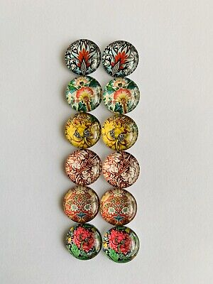 6 Pairs Of 12mm Glass Cabochons #708