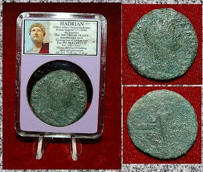Ancient Roman Empire Coin Of HADRIAN Virtus Holding Spear Large Sestertius