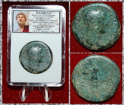 Ancient Roman Empire Coin HADRIAN Diana Holding Arrow LARGE Sestertius