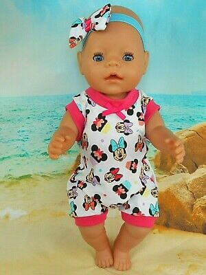 """Dolls clothes for 17"""" BABY BORN~CPK DOLL~MINNIE MOUSE CUPCAKE JUMPSUIT~HAIR BOW"""