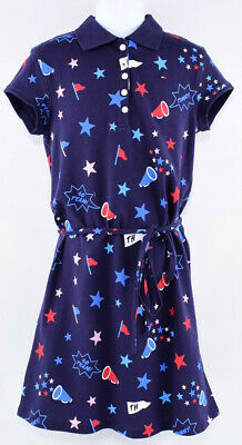 TOMMY HILFIGER Girls' Printed Polo Dress, Navy Blue, size 16 years