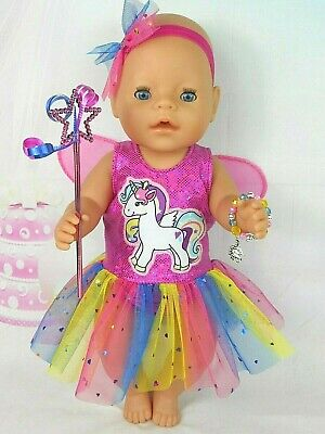 """Dolls clothes for 17"""" Baby Born doll~PINK UNICORN RAINBOW FAIRY WING DRESS SET"""