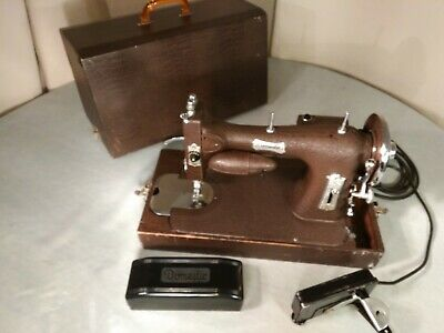 Vintage Domestic Electric Rotary #151 Sewing Machine in portable case w/ extras