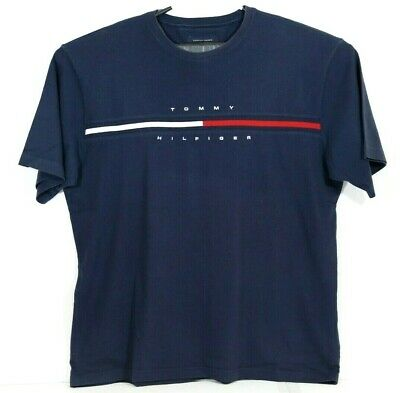Tommy Hilfiger Mens 2XL T-Shirt Big Logo Short Sleeve Graphic Tee Flag Crew Neck