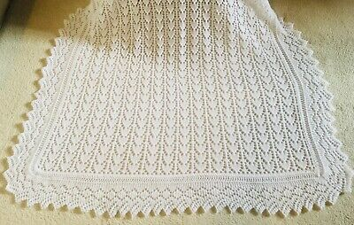 💖 Hand Knitted Baby Girls Heart Shetland Lace Design Pure White Shawl Brand New