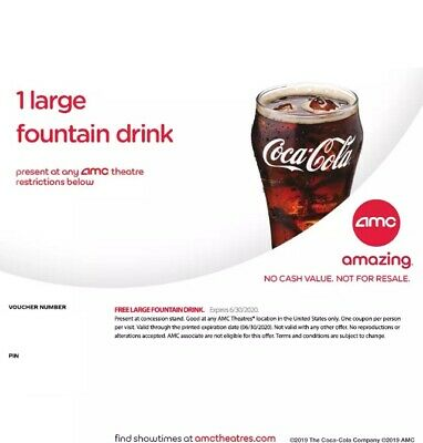 AMC Large Fountain Drink, exp 06/2020 Fast Delivery