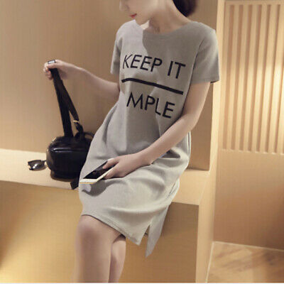 Womens Short Sleeve Round Neck Sexy T-shirt Casual Evening Party Mini Dress