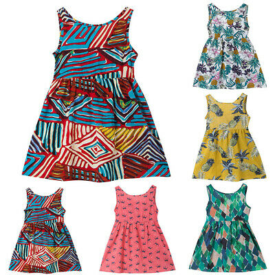 Toddler Kids Baby Girls SummerPrint Sleeveless Princess Strap Dress Sundress