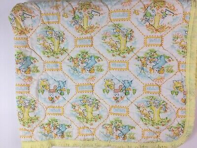 Quilted Baby Blanket Yellow Blue Bear Dundee Vtg Seasons Summer Fall Winter