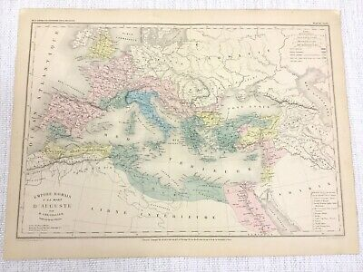 1877 Antique Map of Ancient Roman Empire Emperor Augustus Hand Coloured French