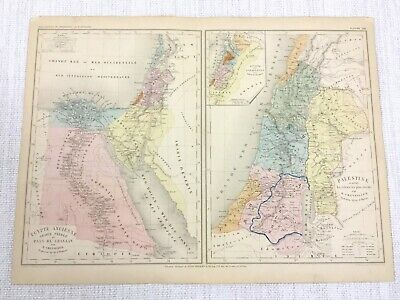 1877 Antique Map of Ancient Egypt Palestine The Middle East Israel Hand Coloured
