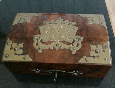 Antique Burr Walnut Brass Playing Card Games Box Victorian