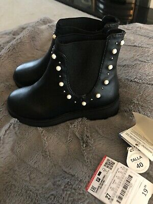 Girls Infant Zara Chelsea Black And Pear Stud Boots Uk 9.5