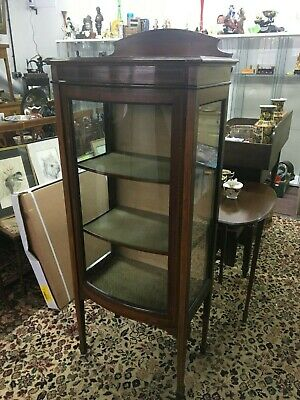 Edwardian Glass Display Cabinet With Two Shelves Curved Glass Door Tapering Legs